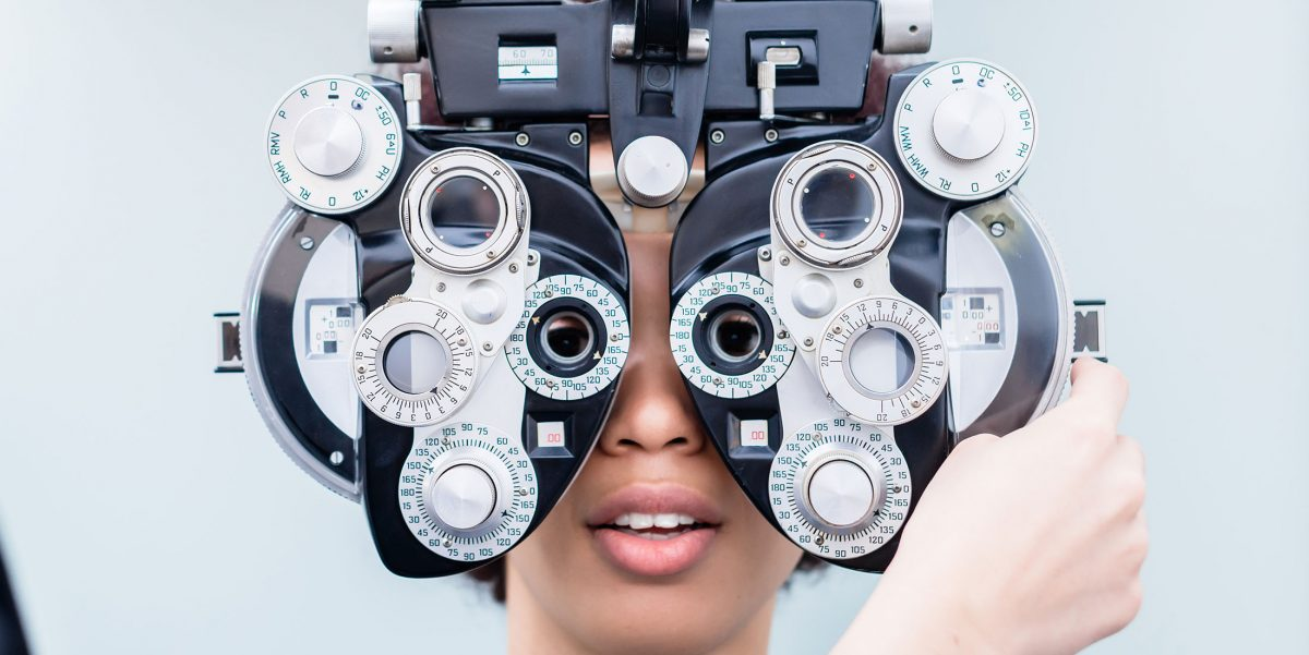 Orion eye case study, woman with Ophthalmoscope